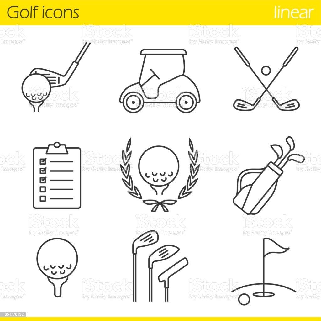 Iconos de equipos de golf - ilustración de arte vectorial