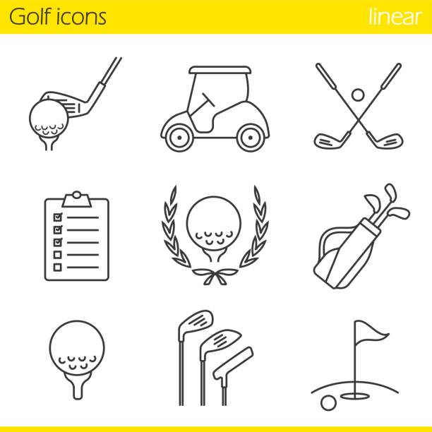 Golf equipment icons Golf equipment linear vector icons. Thin line. Ball on tee, golf cart, clubs, golfer's checklist, championship symbol, bag, course, flagstick in hole golf icon stock illustrations