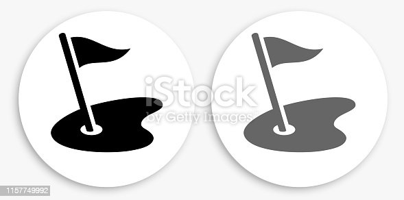 Golf Field Black and White Round Icon. This 100% royalty free vector illustration is featuring a round button with a drop shadow and the main icon is depicted in black and in grey for a roll-over effect.
