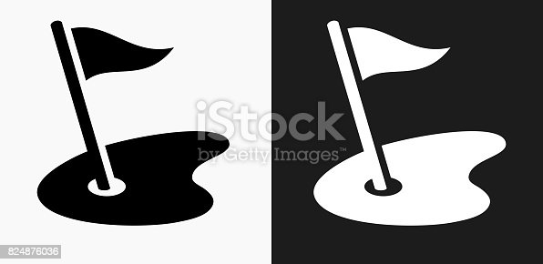 Golf Field Icon on Black and White Vector Backgrounds. This vector illustration includes two variations of the icon one in black on a light background on the left and another version in white on a dark background positioned on the right. The vector icon is simple yet elegant and can be used in a variety of ways including website or mobile application icon. This royalty free image is 100% vector based and all design elements can be scaled to any size.