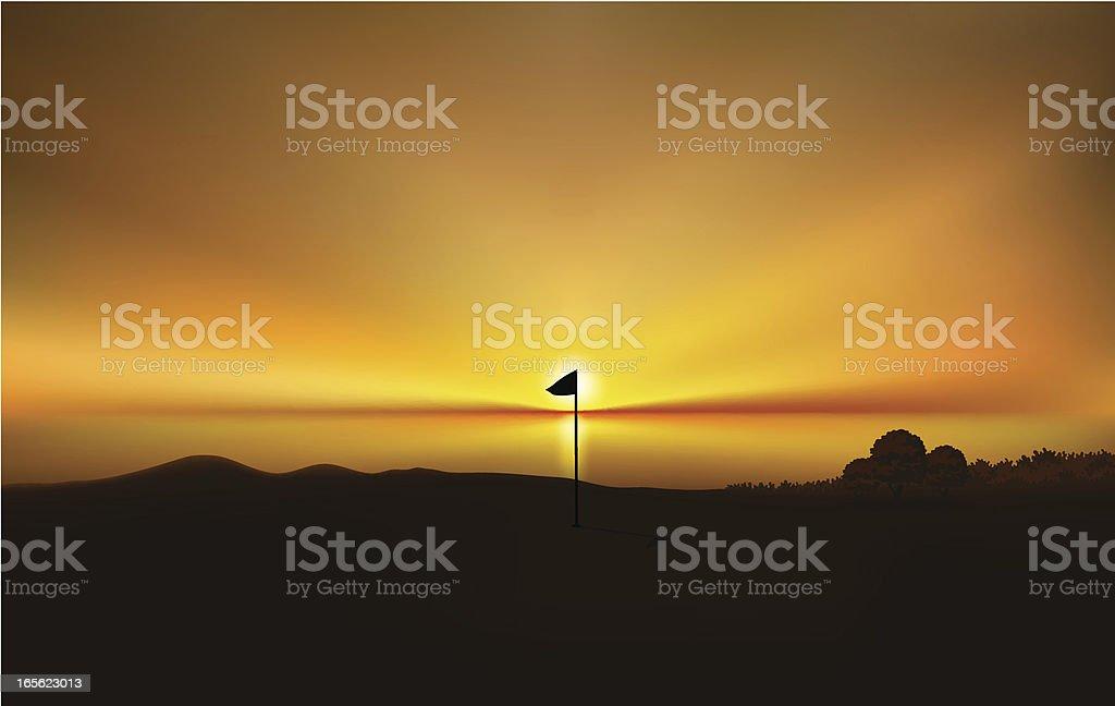 Golf Field Sunset royalty-free stock vector art