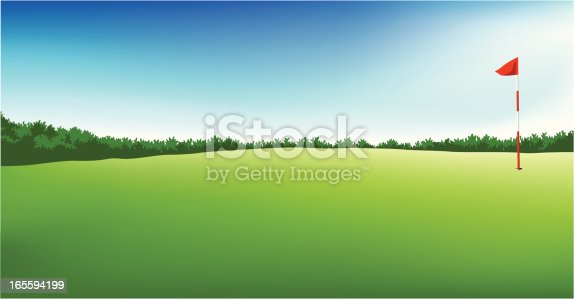 istock golf field with flag 165594199