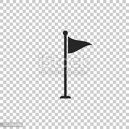 Golf flag icon isolated on transparent background. Golf equipment or accessory. Flat design. Vector Illustration