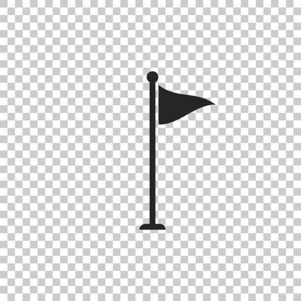 ilustrações de stock, clip art, desenhos animados e ícones de golf flag icon isolated on transparent background. golf equipment or accessory. flat design. vector illustration - golf