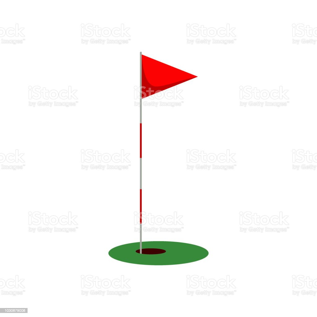 Golf flag on the grass with hole isolated on white background, flat...
