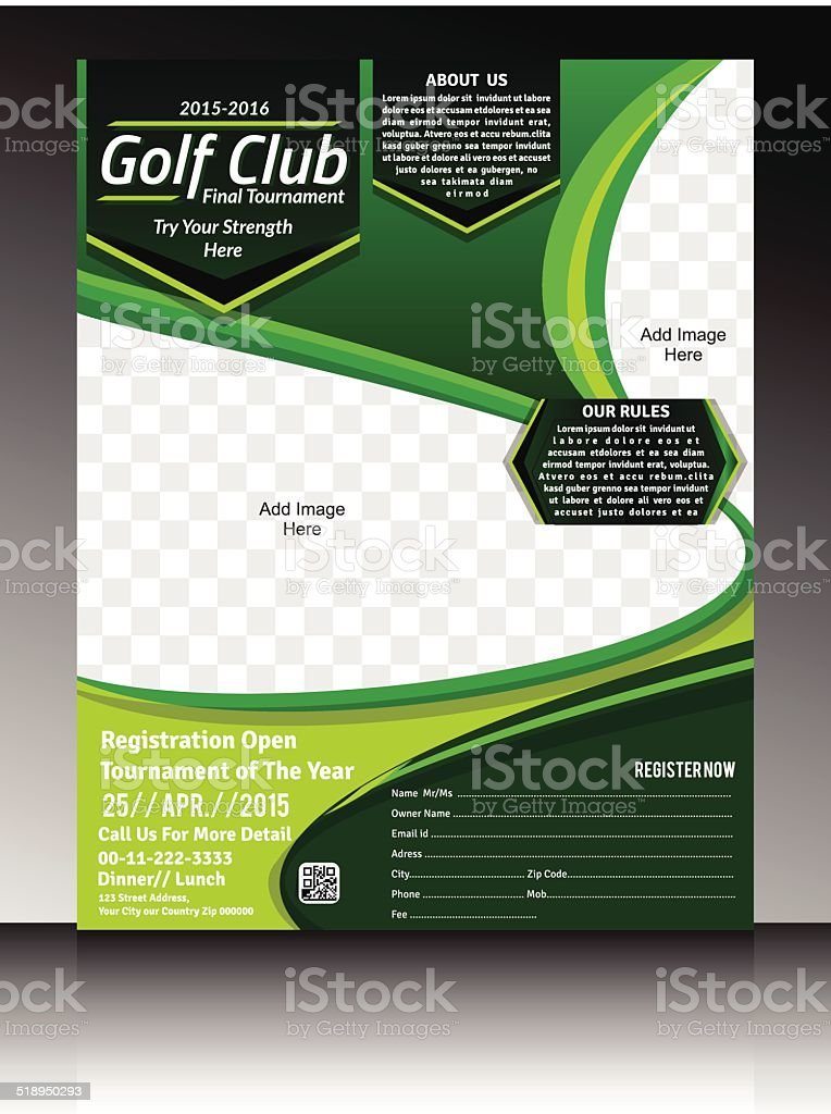 Golf Flyer Template Stock Vector Art More Images Of Abstract