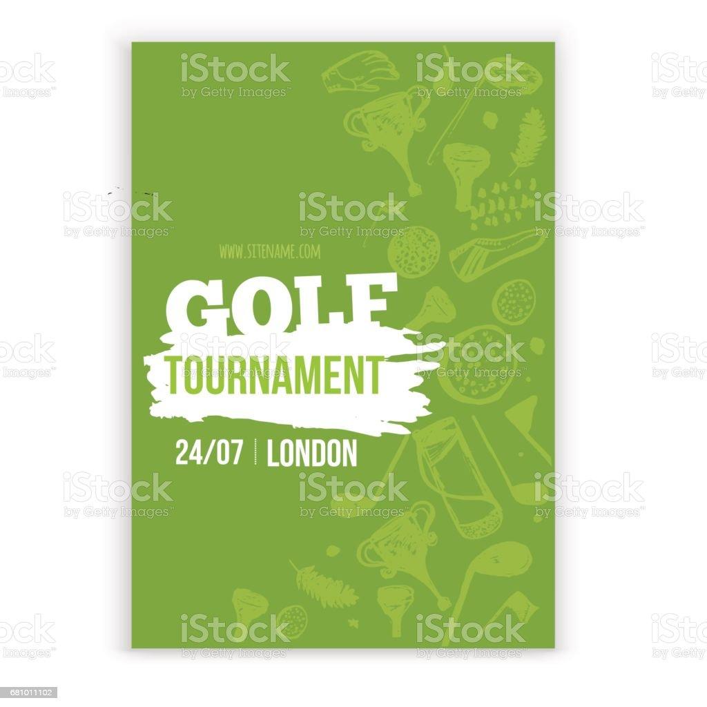 Ilustración de vector de volante de golf. Torneo diseño de invitación con mano dibujado elementos grunge. Fácil de editar para su promoción - ilustración de arte vectorial