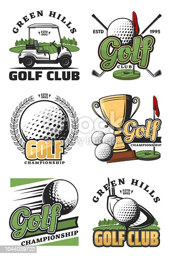 Golf sport championship vintage icons and symbols. Golf ball, club and tee, flag, green field and hole, cart and champion trophy cup objects. Vector color sport icons