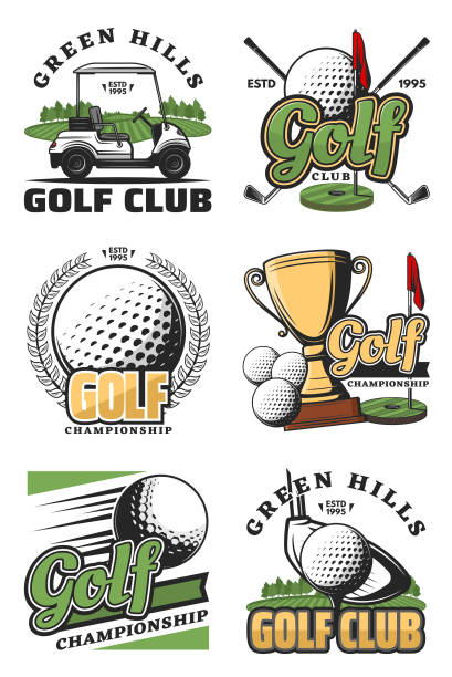 Golf game and sport club icons Golf sport championship vintage icons and symbols. Golf ball, club and tee, flag, green field and hole, cart and champion trophy cup objects. Vector color sport icons golf logo stock illustrations