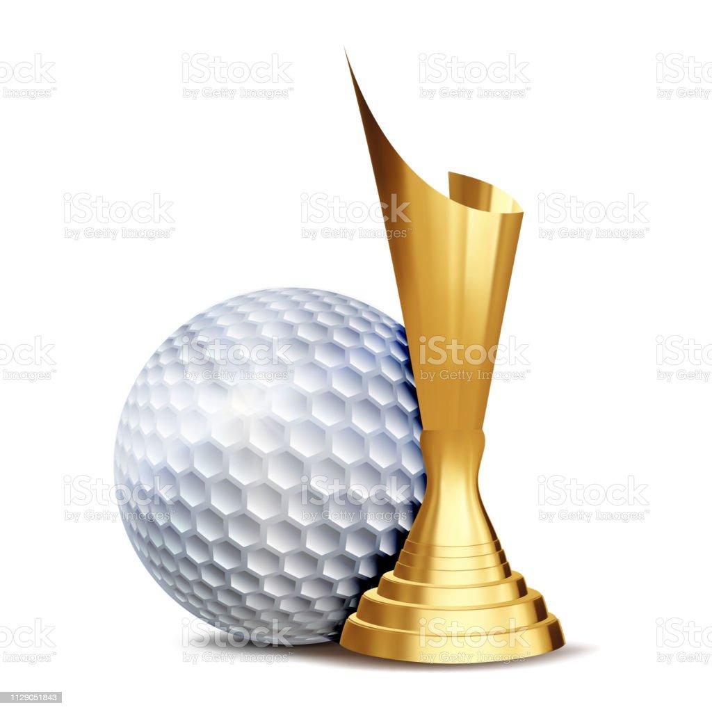 Golf Award Vector. Golf Ball, Golden Cup. Sports Game Event...