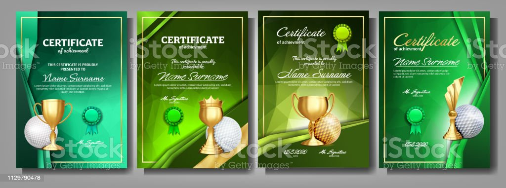 Golf Game Certificate Diploma With Golden Cup Set Vector. Sport Award...