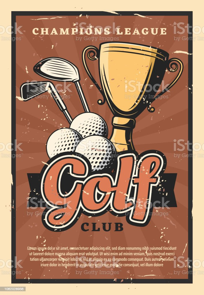 Golf club retro poster, sport game. Balls and sticks with gold trophy...