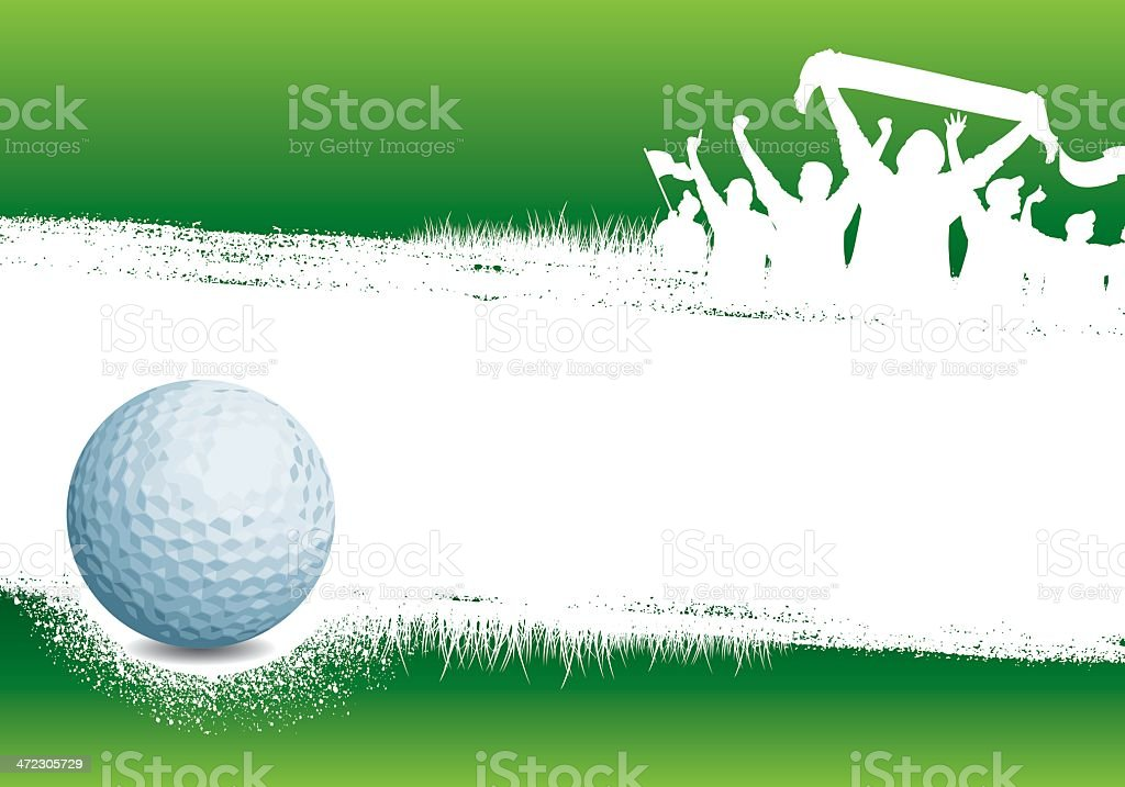 Golf green background with ball,grunge and soccer fans