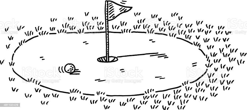 Golf Green Flag Putting Drawing vector art illustration