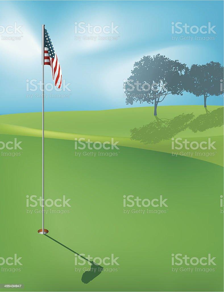 Golf Hole Background - American Flag vector art illustration