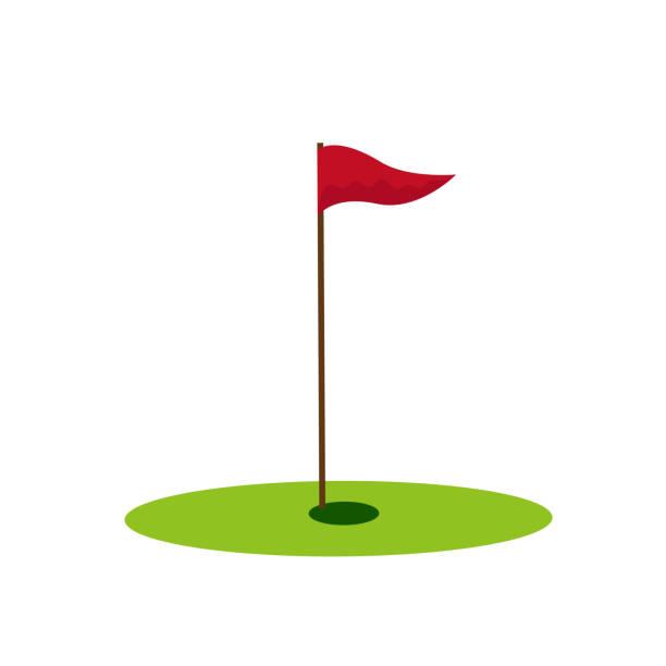 ilustrações de stock, clip art, desenhos animados e ícones de golf hole icon on the white background. vector illustration. - golf
