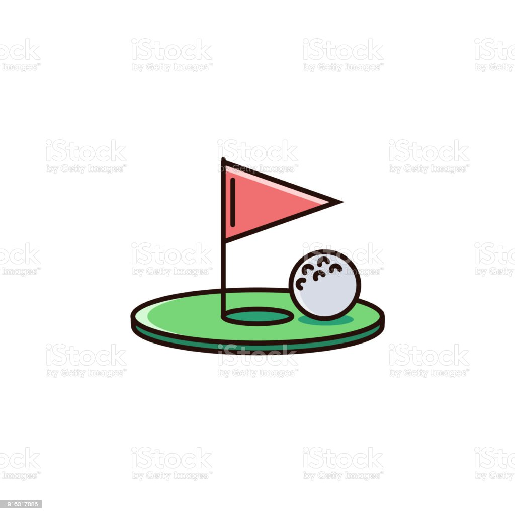 Golf hole with flag and ball - flat color line icon on isolated background. vector art illustration