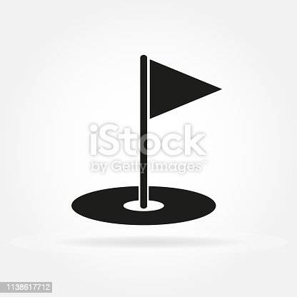 Golf hole with flag. Golf court icon in flat style. Vector illustration.