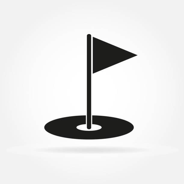 ilustrações de stock, clip art, desenhos animados e ícones de golf hole with flag. golf court icon in flat style. vector illustration. - golf