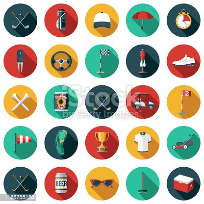 A set of golf themed flat design icons. File is built in the CMYK color space for optimal printing. Color swatches are global so it's easy to edit and change the colors.
