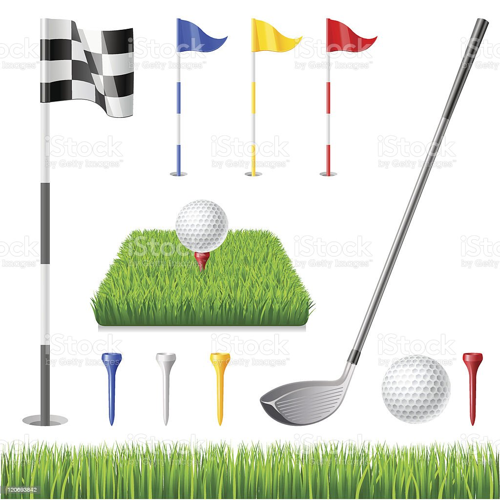 Golf icon set vector art illustration