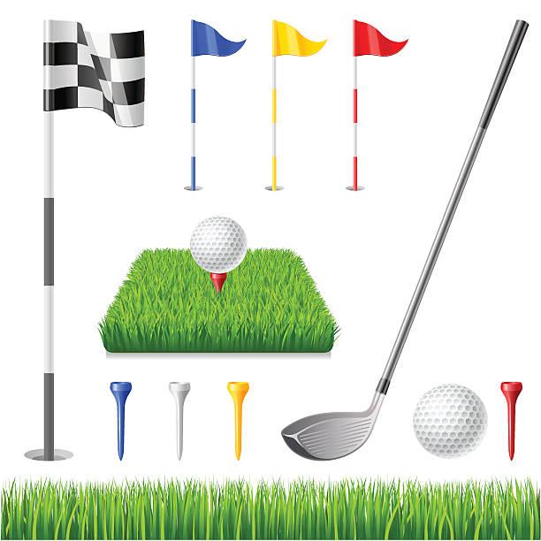 ilustrações de stock, clip art, desenhos animados e ícones de conjunto de ícones de golfe - golf
