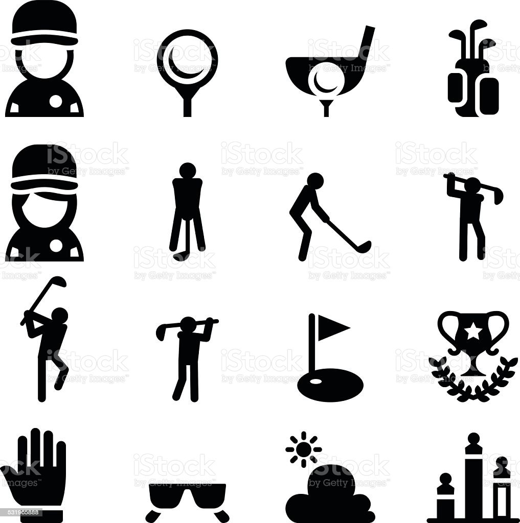 Golf icon set vector art illustration