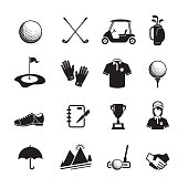 Golf icon, set of 16 editable filled, Simple clearly defined shapes in one color. Vector