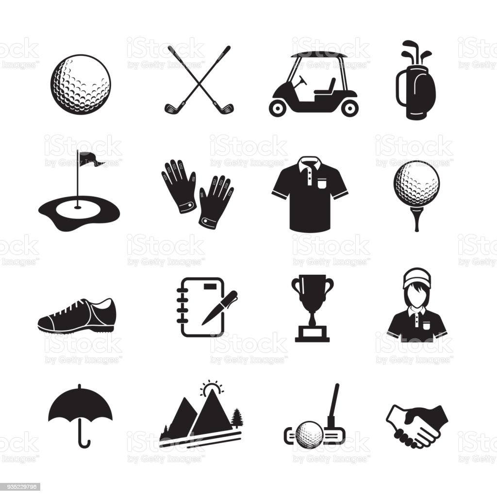 Ícone de golfe - ilustração de arte em vetor