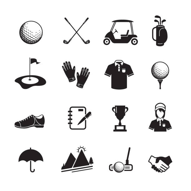 Golf icon Golf icon, set of 16 editable filled, Simple clearly defined shapes in one color. Vector golf ball stock illustrations