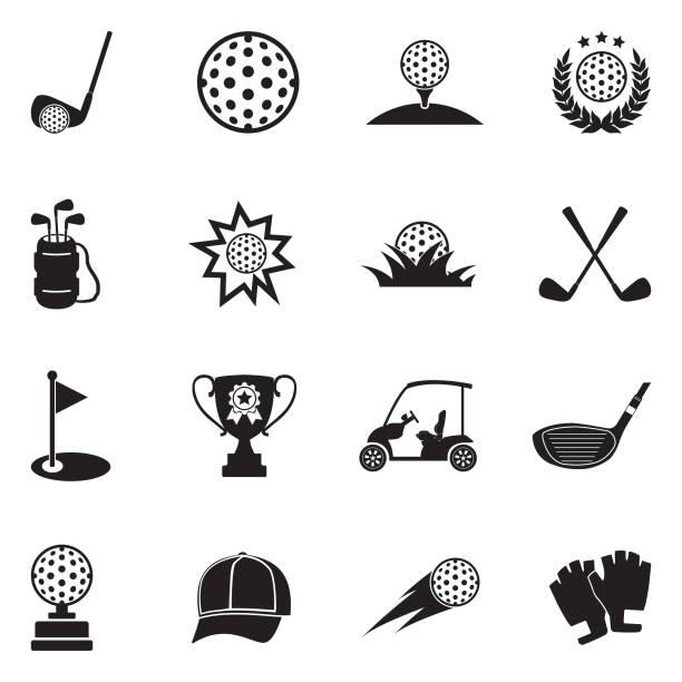 ゴルフのアイコン。黒のフラット デザイン。ベクトルの図。 - ゴルフ点のイラスト素材/クリップアート素材/マンガ素材/アイコン素材
