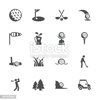 Golf Icons Gray Series Vector EPS File.