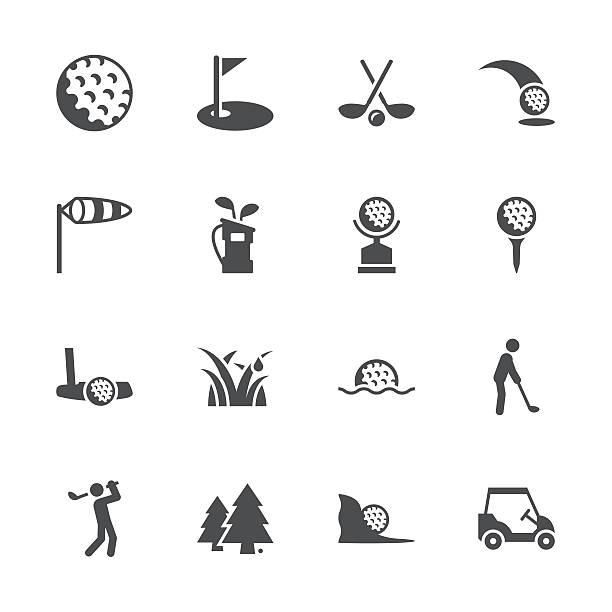 ilustrações de stock, clip art, desenhos animados e ícones de série de ícones de golfe de cinzento - golf