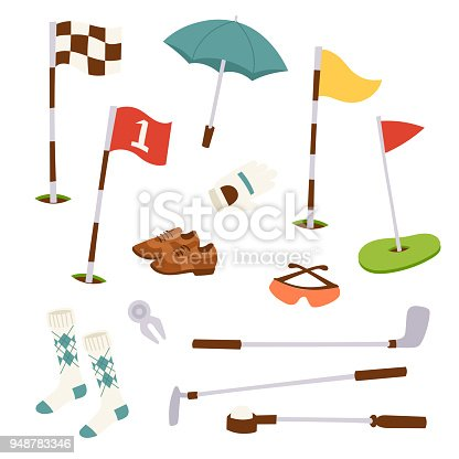 Golf icons hobby equipment cart player golfing sport symbol flag hole game. Vector sign patch set bag hobby golfer patches recreation tools.