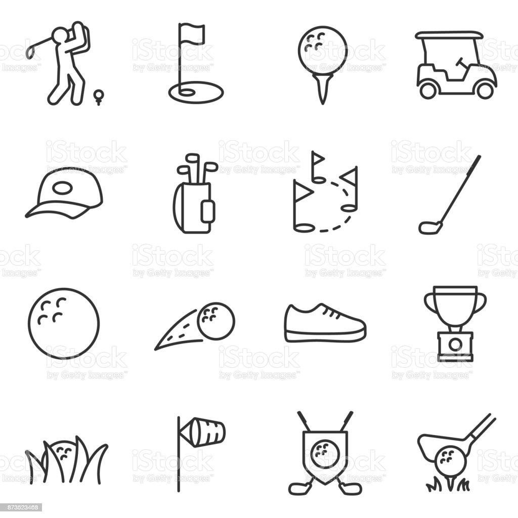 Conjunto de iconos de golf. Movimiento editable. - ilustración de arte vectorial
