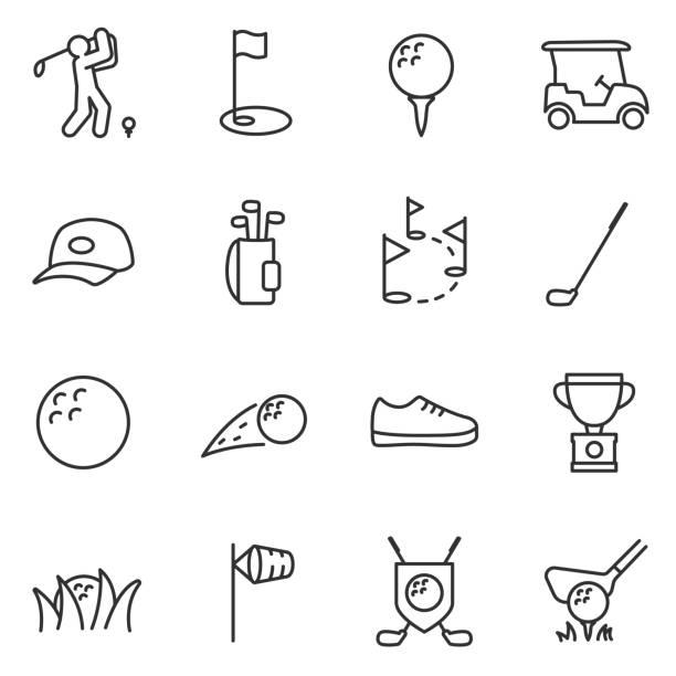 ilustrações de stock, clip art, desenhos animados e ícones de golf icons set. editable stroke. - golf
