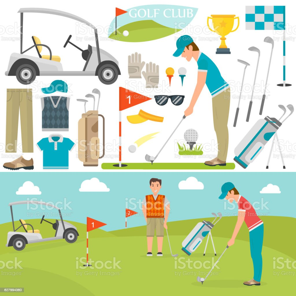 Golf icons vector and player vector art illustration