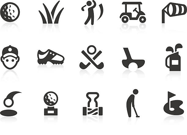 Golf icons Monochromatic golf related vector icons for your design and application. Raw style. Files included: vector EPS, JPG, PNG. golf icon stock illustrations