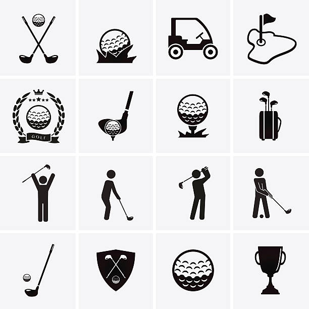 Golf Icons Golf Icons. Vector set golf icon stock illustrations