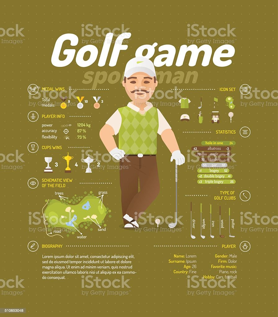 Golf infographic vector art illustration