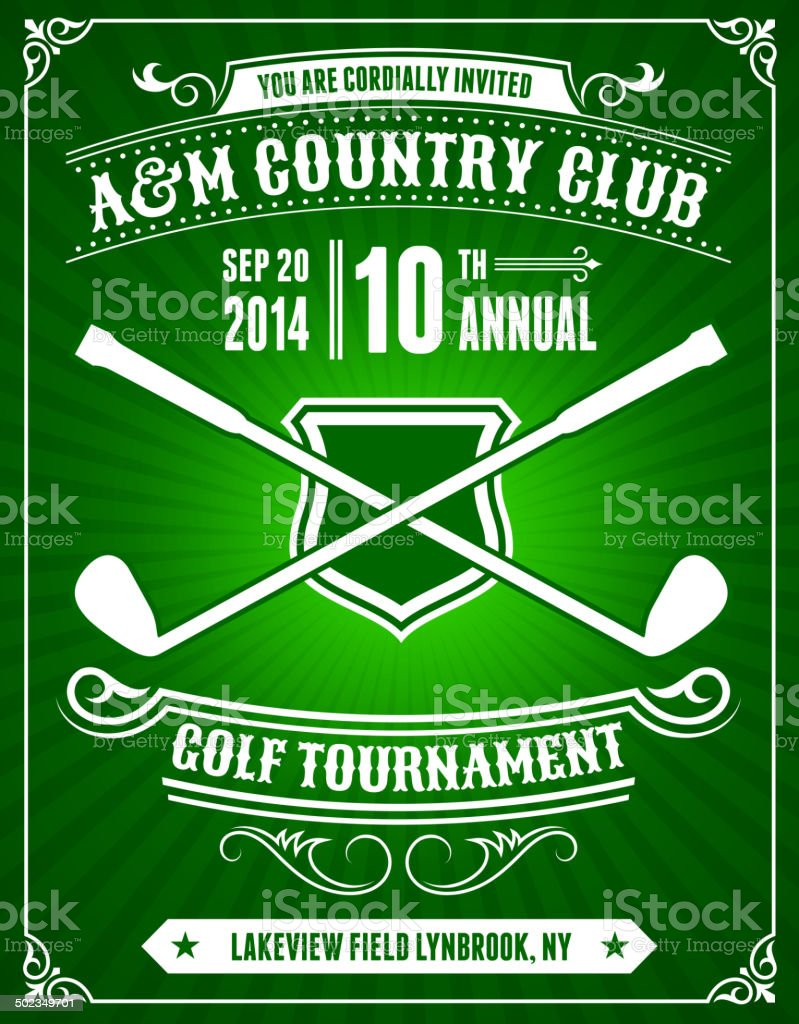 Golf Invitation Tournament on Green Background vector art illustration