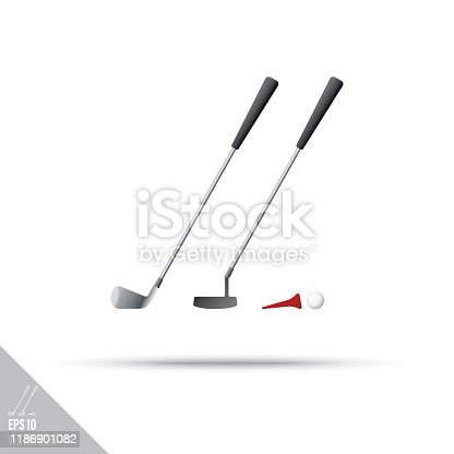 Smooth style iron golf club, putter, tee and ball icon. Sports equipment vector illustration.