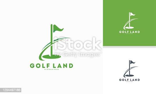 Golf Land logo designs concept vector, Golf flag with swoosh logo