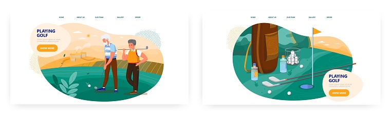 Golf landing page design, website banner vector template set. Senior man practicing outdoor sport game with trainer.