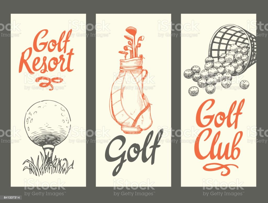 4d6e3b68c Ilustración de Banners De Diseño De Golf Con Pelota Backet Bolso ...