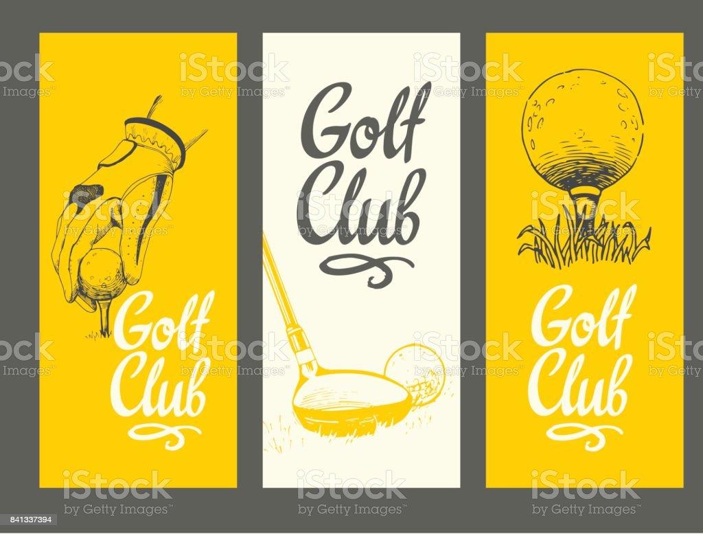 48ad465b9 Ilustración de Banners De Diseño De Golf Con Pelota Clubes Guante ...