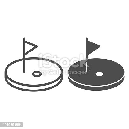 Golf line and solid icon. Golf course with flag illustration isolated on white. Golfing logo outline style design, designed for web and app. Eps 10