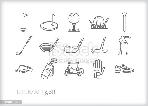 Set of 15 golf line icons of objects for playing a round or practicing on the putting green