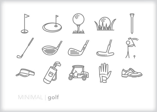 Golf line icon set Set of 15 golf line icons of objects for playing a round or practicing on the putting green golf icon stock illustrations