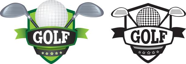 golf logo or badge, shield or branding shield or logo badge to represent a sports club as a vector golf logo stock illustrations